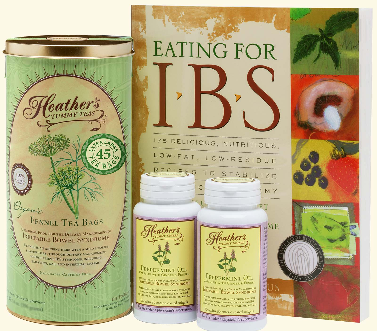 IBS Diet Kit #1<br>Eating for IBS,<BR>Fennel TEABAGS,<BR>Peppermint Caps