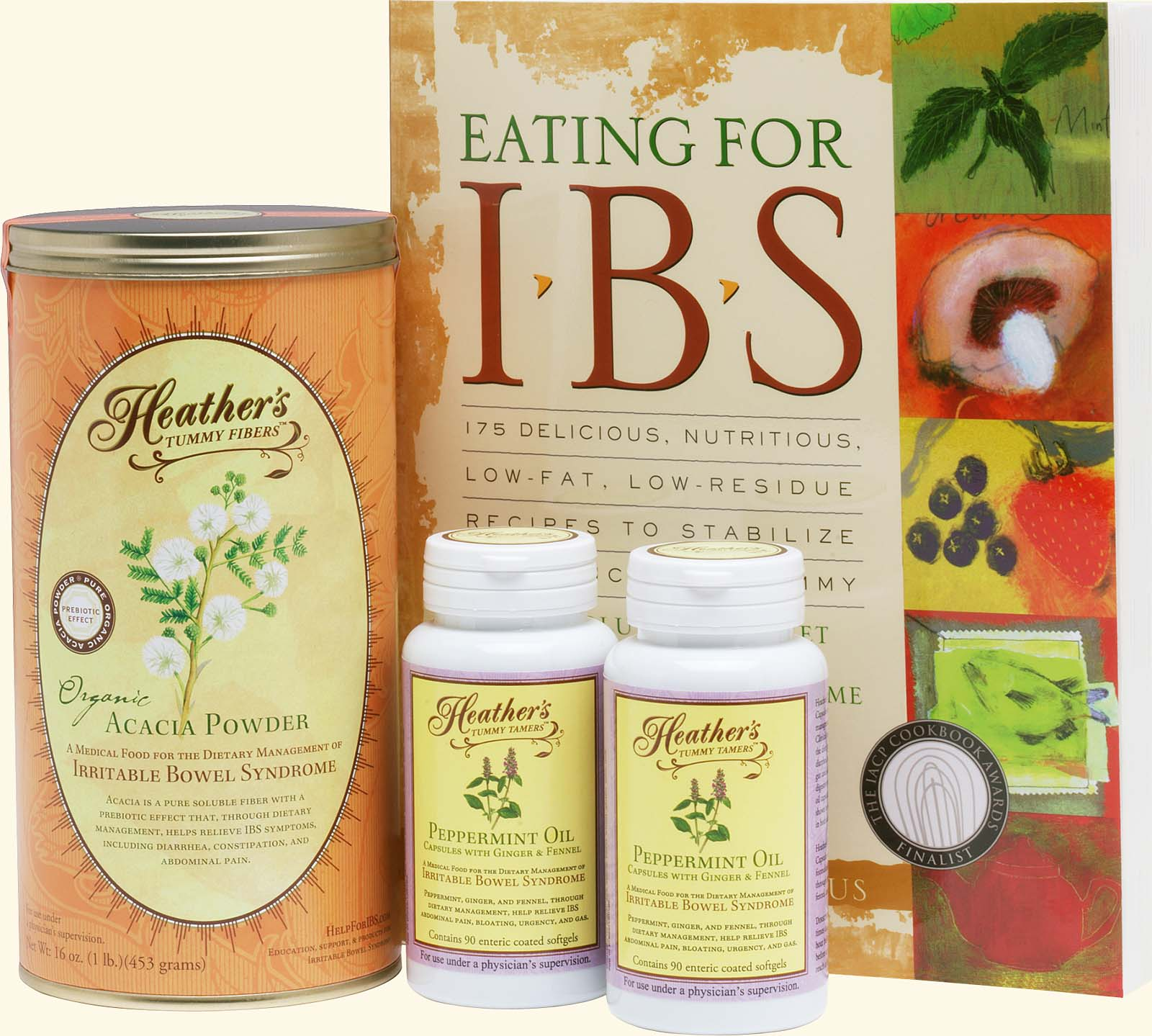 IBS Diet Kit #2<br>Eating for IBS,<BR>Tummy Fiber<BR>Acacia Can,<BR>Peppermint Caps