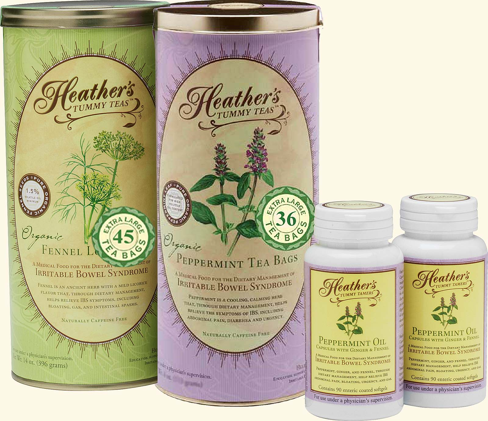 Tummy Teabag Kit<br>Peppermint & Fennel TEABAGS<BR> Peppermint Caps