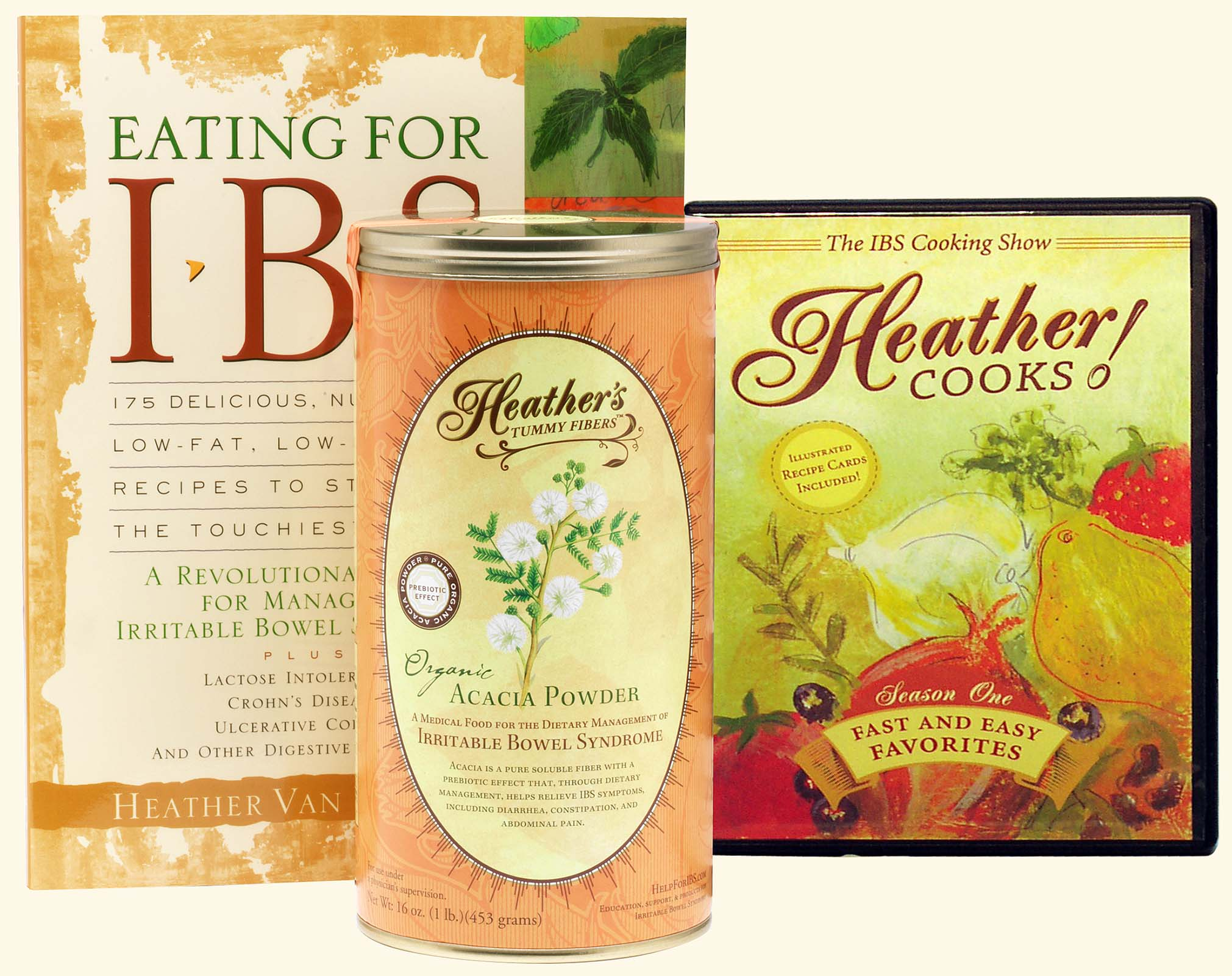Kitchen Kit<br>Eating for IBS<BR>Heather Cooks! DVD<BR>Tummy Fiber Acacia Can