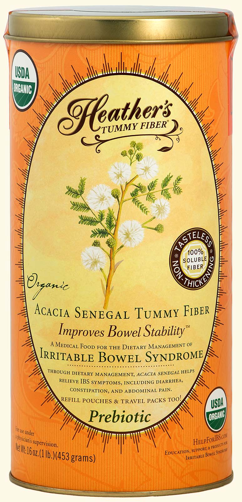 Tummy Fiber<br>Acacia Senegal<br>Refillable<br>1lb. Can<br><em>Diarrhea & Constipation</em>
