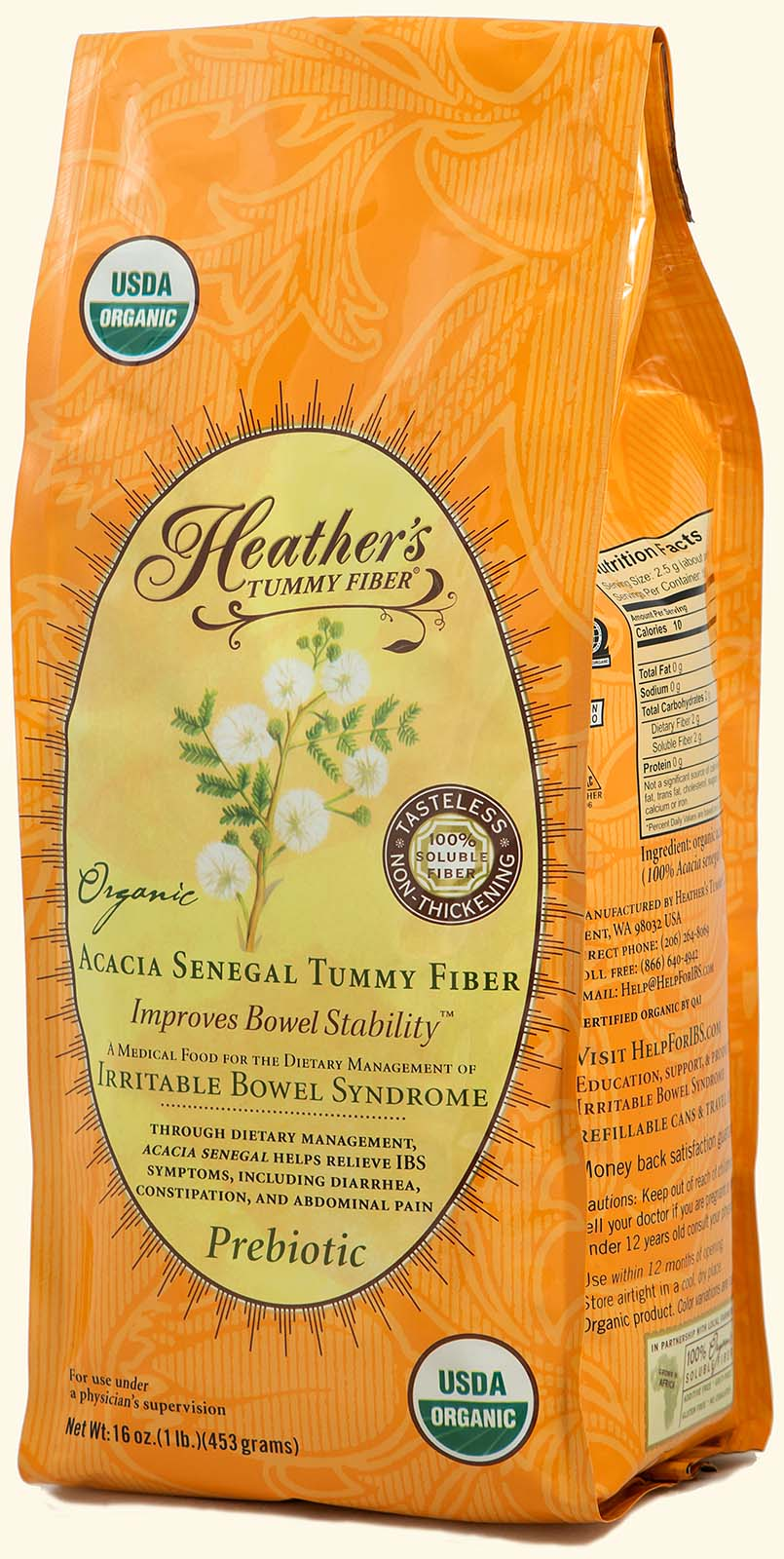 Tummy Fiber<br>Acacia Senegal<br>1lb. Refill Pouch<br><em>Diarrhea & Constipation</em>
