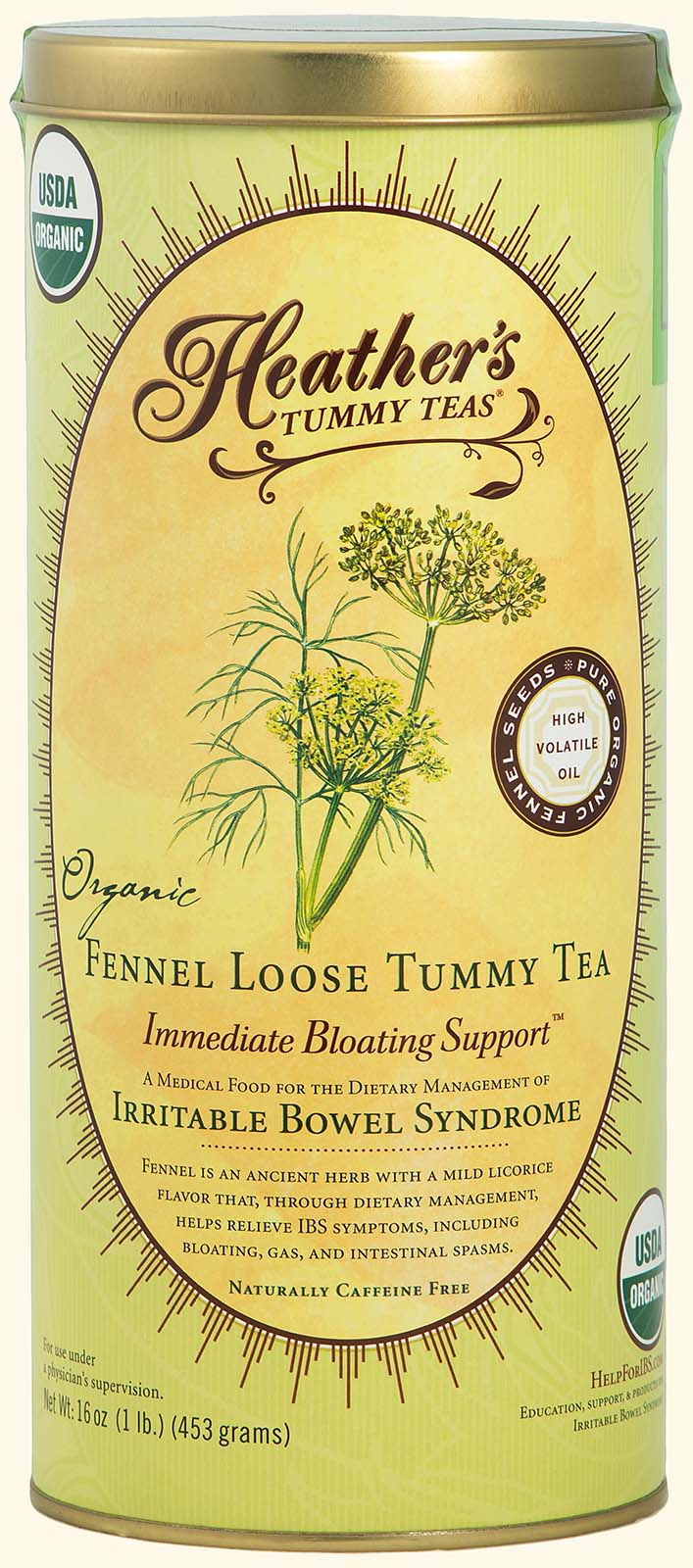 Fennel<br>Tummy Tea<br>LOOSE 1lb. Can<br><em>Bloating & Gas</em>