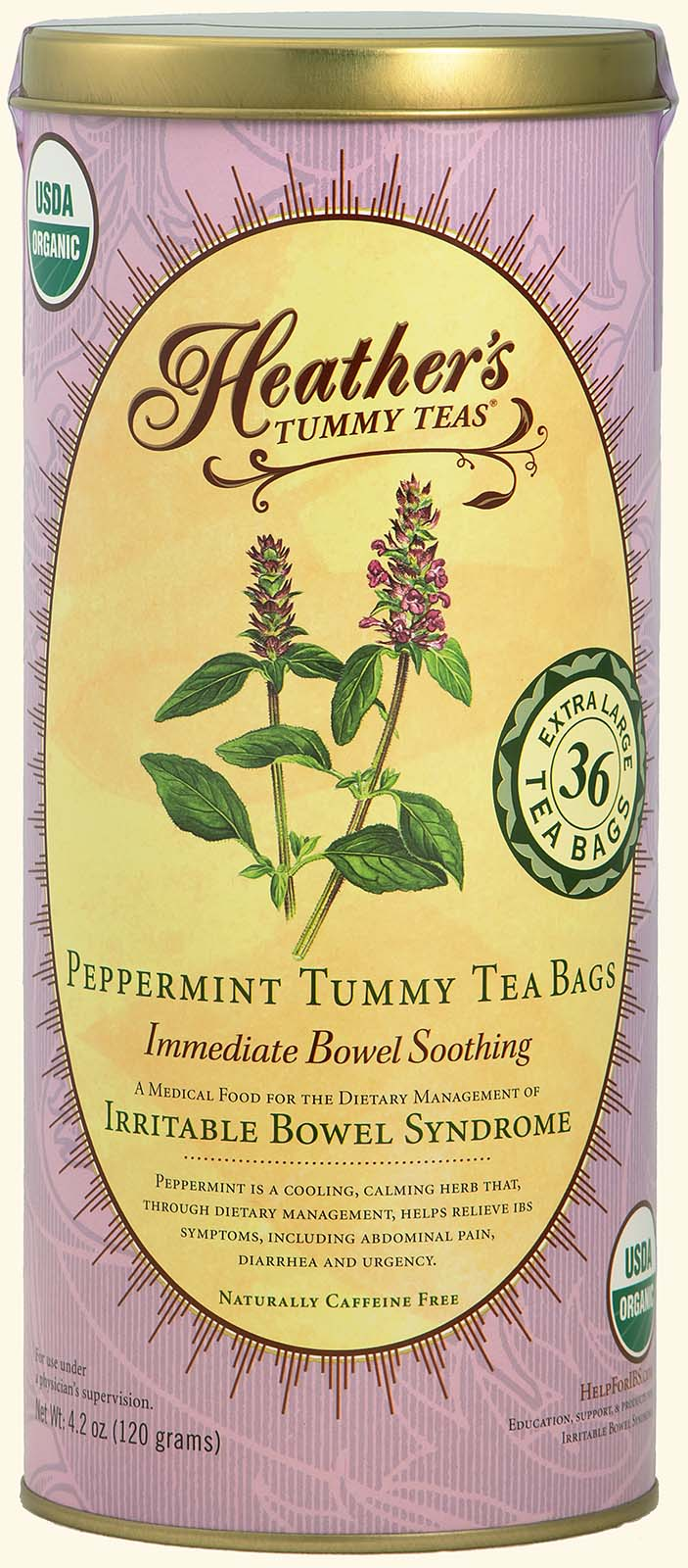 Peppermint<br>Tummy TEABAGS<br>36 jumbo bags<br><em>Pain & Urgency</em>